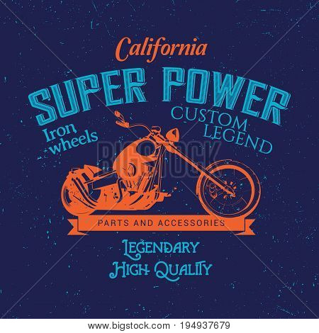California Super Power Poster with bike and words legendary high quality on effective background vector illustration