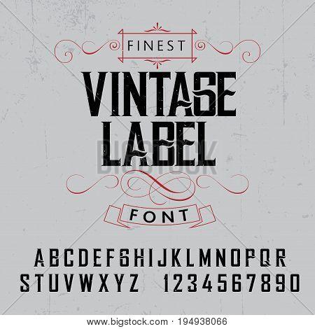 Finest Vintage Label Font Poster on the grey background vector illustration