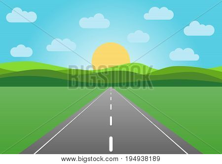 Vector asphalt road leaving into the horizon. Summer landscape with highway at sunrise with green field and clouds on blue sky.