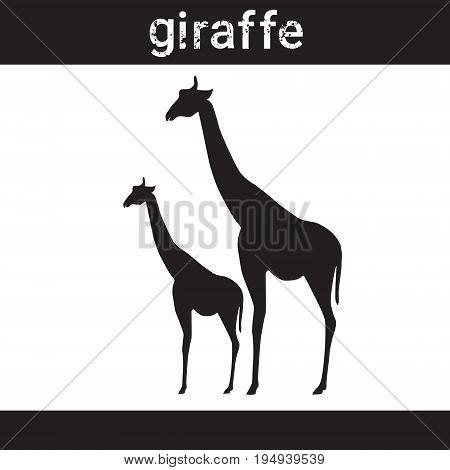 Silhouette Giraffe In Grunge Design Style Animal Icon Vector Illustration
