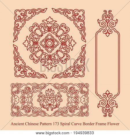 Ancient Chinese Pattern Of Spiral Curve Border Frame Flower
