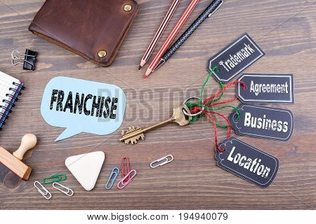 franchise concept. The key to success on a wooden office desk.