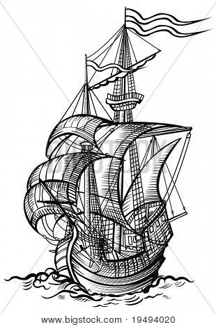vector illustration of an old sailing boat