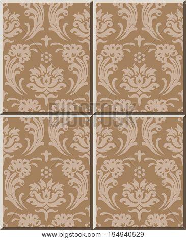 Ceramic Tile Pattern Of Vintage Spiral Cross Flower Leaf Decal.