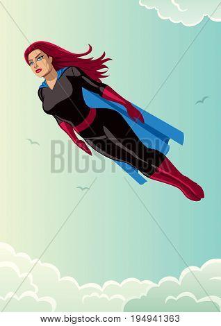 Illustration of super heroine flying in the sky.
