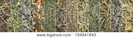 set of Chinese and Japanese green tea - a collage of 12 macro background shots of loose leaves