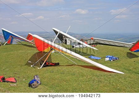 Hang Gliders prepared to fly at the Blorenge, Wales