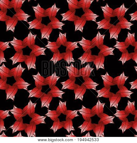 Raster seamless natural pattern with red leaves in circle tracery. Fall background. Foliage.