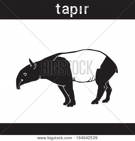 Silhouette Tapir In Grunge Design Style Animal Icon Vector Illustration