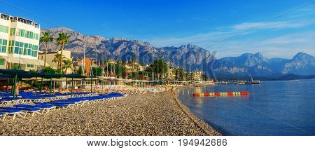 View of the coastline in the town of Kemer in Turkey.