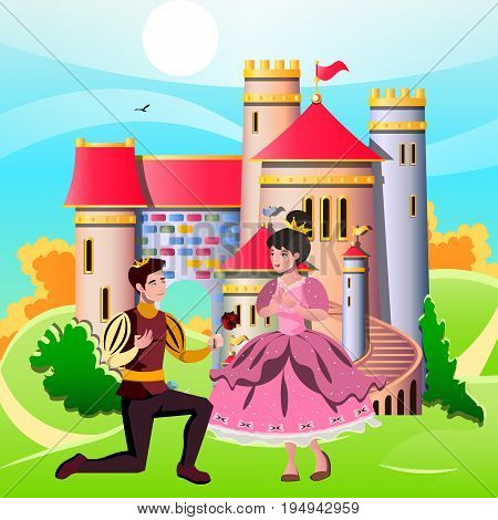 Princess and knights standing in front of the castle. Vector illustration
