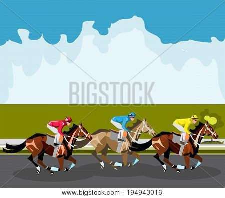 Three racing horses competing with each other. Vector illustration.