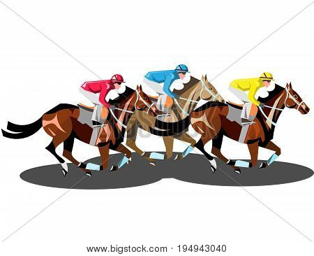 Racing horses competing with each other isolated. Vector illustration.