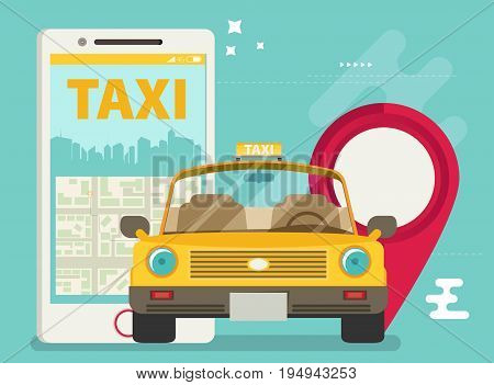 Taxi service. Smartphone. Vector colorful flat illustration.
