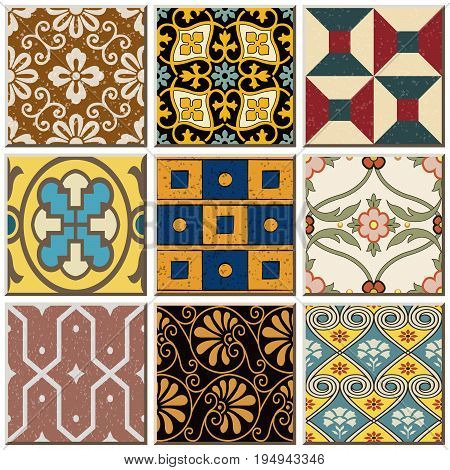Lisbon Antique Retro Ceramic Tile Pattern Combo Collection Set