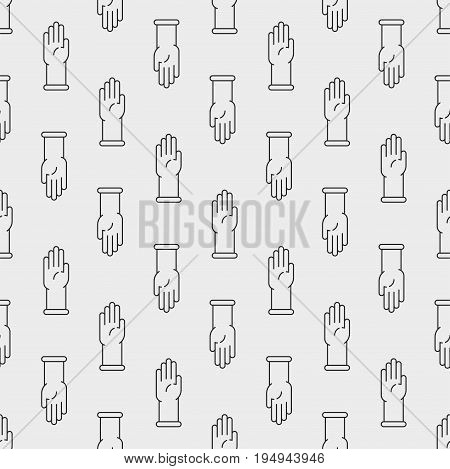 Simple latex protective gloves icon seamless pattern