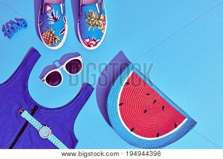 Summer Hipster Girl Accessories Set. Fashion Design. Hot Summer Sunny Vibes. Trendy Sneakers, fashion Sunglasses, Glamor Watermelon Clutch. Creative Bright Sweet Style. Blue Pastel Color.Minimal, Art