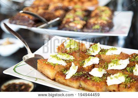 Turkish dessert. Sweet tasty dessert. Appetizer baked