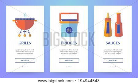 Vertical slider banner about picnic equipment for web site