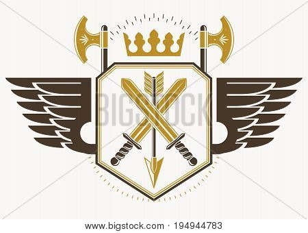 Vector retro label design decorated with eagle wings and made using vintage elements like royal crown and armory