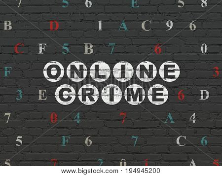 Security concept: Painted white text Online Crime on Black Brick wall background with Hexadecimal Code