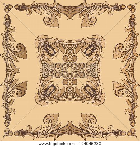 Vintage baroque frame ornament border floral retro pattern antique rococo style decorative design. Royal element of design on a yellow background.