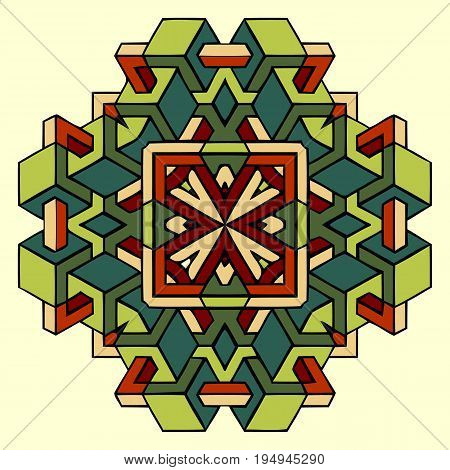 abstract colorful geometric pattern of interlocking elements of geometric figures