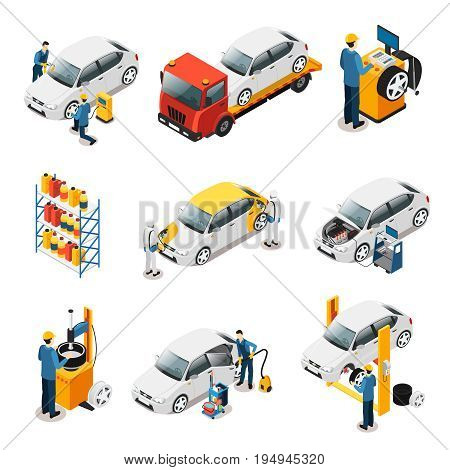 Isometric car repair services set with tire changing evacuating auto painting engine diagnostic automobile wash isolated vector illustration
