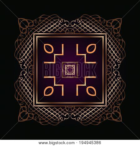 on an abstract symmetrical ornate openwork pattern of interwoven gold color lines built monogram framed