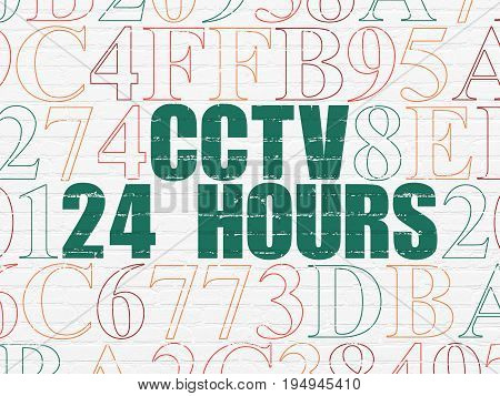 Privacy concept: Painted green text CCTV 24 hours on White Brick wall background with Hexadecimal Code