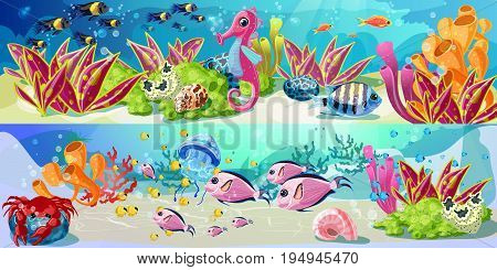 Cartoon marine underwater life horizontal banners with seahorse swimming fishes crab shells seaweed and corals vector illustration
