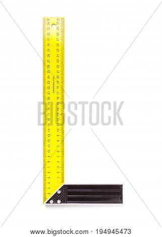 Yellow Steel Rafter Square Isolated On White Background.