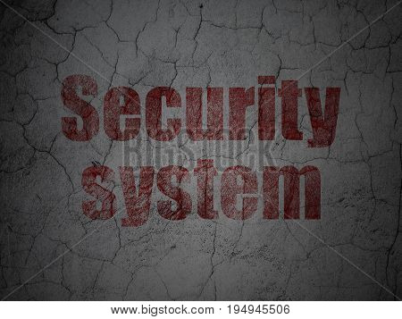 Security concept: Red Security System on grunge textured concrete wall background