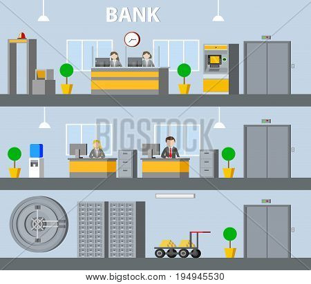 Bank interior horizontal banners with reception manager workplace atm elevator water cooler safe deposit boxes plants vector illustration