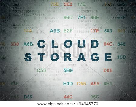 Security concept: Painted blue text Cloud Storage on Digital Data Paper background with Hexadecimal Code