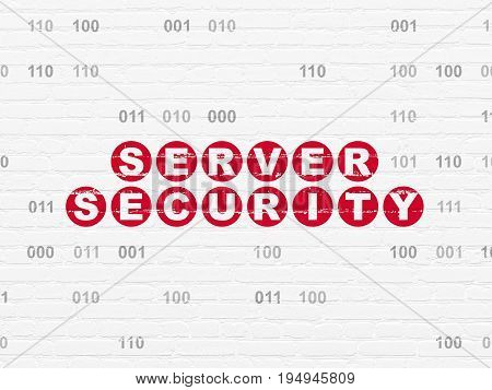 Protection concept: Painted red text Server Security on White Brick wall background with Binary Code