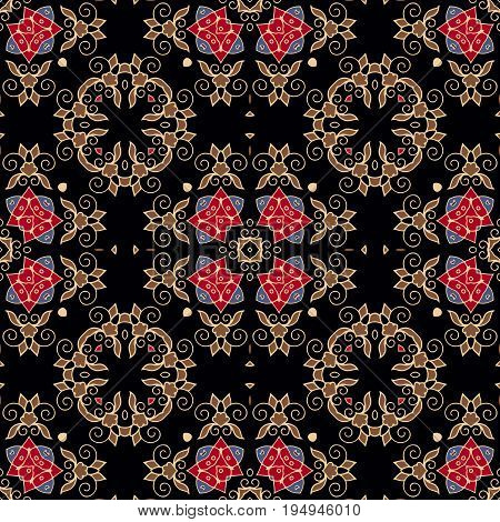 vintage pattern. Decorative symmetry arabesque. Multicolor seamless pattern on a black background. Vector illustration.