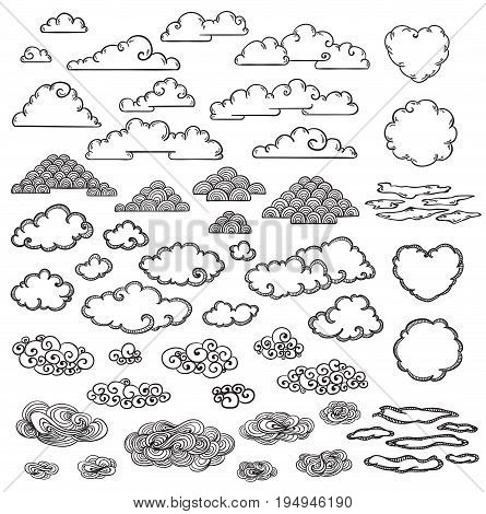 Hand drawn clouds collection of different shapes forms and sizes in monochrome style isolated vector illustration