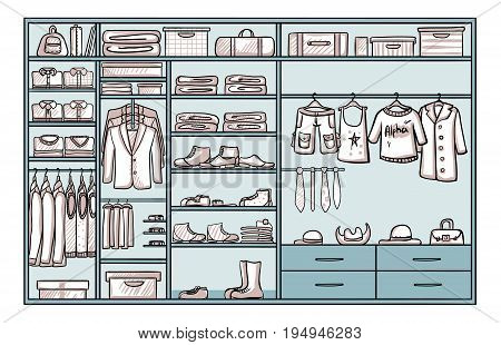 Hand drawn male wardrobe concept with trousers jackets shirts bags boots shoes belts ties accessories vector illustration