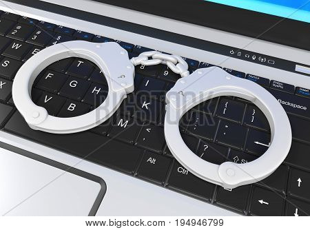 Laptop and Handcuffs Cyber Crime Illustration. 3D render