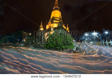 AYUTTHAYA,THAILAND-JULY 8,2017:Triple circumambulation at Principal Chedi in Wat Yai Chai Mongkhon the Great Monastery of Auspicious Victory is located Ayutthaya Historical Park in Middle of Thailand.