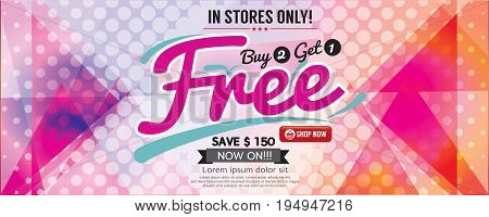 Buy 2 Get 1 Free 6249x2502 pixel Banner Vector Illustration. EPS 10