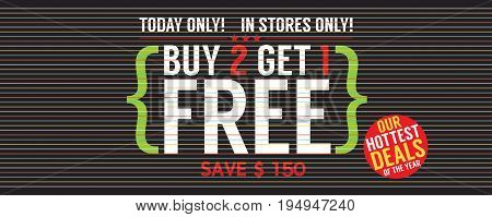 Buy 2 Get 1 Free 5000x1995 pixel Banner Vector Illustration. EPS 10