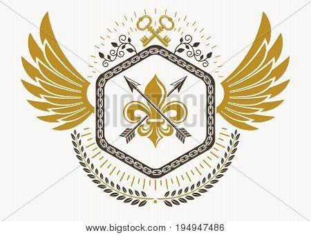 Luxury heraldic vector emblem template made using bird wings keys and armory