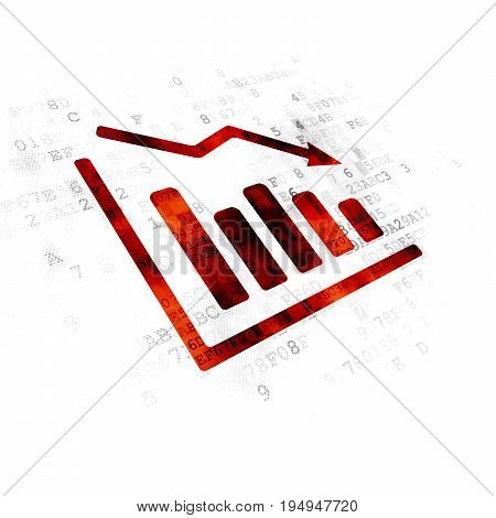 Finance concept: Pixelated red Decline Graph icon on Digital background