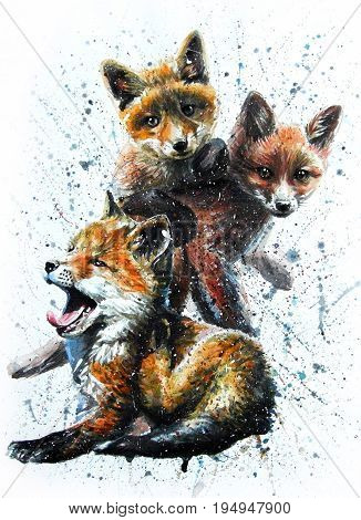 Little fox, watercolor, animals, painting, wildlife, predators, drawing, kids