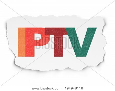 Web design concept: Painted multicolor text IPTV on Torn Paper background