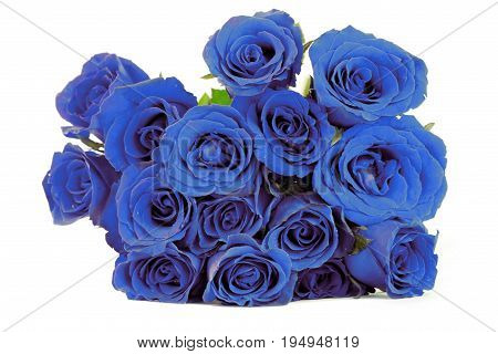 Fantasy blue roses bouquet on white background.