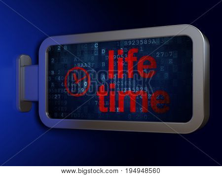 Time concept: Life Time and Clock on advertising billboard background, 3D rendering