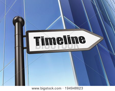 Timeline concept: sign Timeline on Building background, 3D rendering